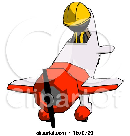 Black Construction Worker Contractor Man in Geebee Stunt Plane Descending Front Angle View by Leo Blanchette