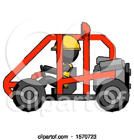 Black Construction Worker Contractor Man Riding Sports Buggy Side View by Leo Blanchette