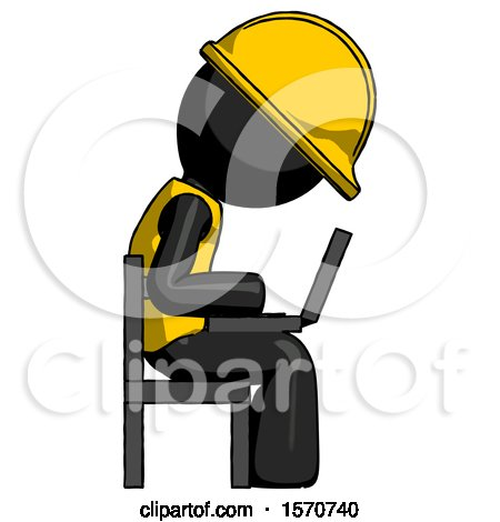 Black Construction Worker Contractor Man Using Laptop Computer While Sitting in Chair View from Side by Leo Blanchette