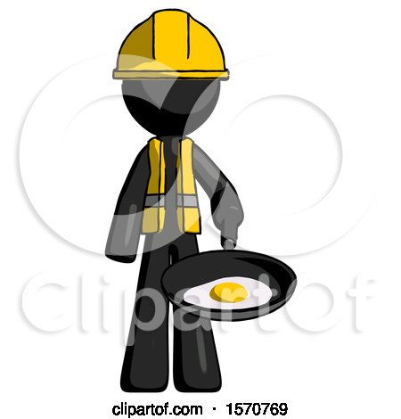 Black Construction Worker Contractor Man Frying Egg in Pan or Wok by Leo Blanchette