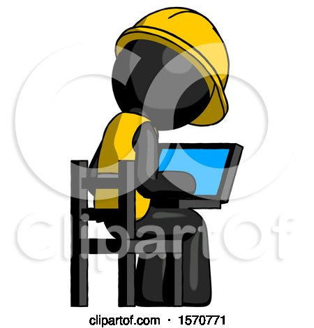 Black Construction Worker Contractor Man Using Laptop Computer While Sitting in Chair View from Back by Leo Blanchette