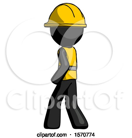 Black Construction Worker Contractor Man Walking Away Direction Left View by Leo Blanchette