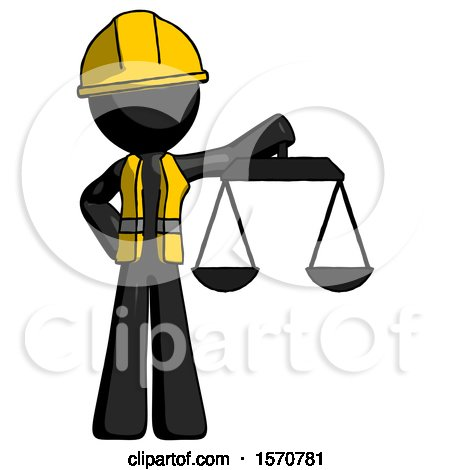 Black Construction Worker Contractor Man Holding Scales of Justice by Leo Blanchette