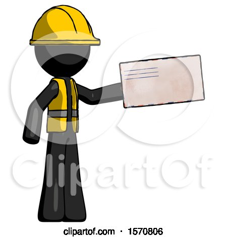 Black Construction Worker Contractor Man Holding Large Envelope by Leo Blanchette