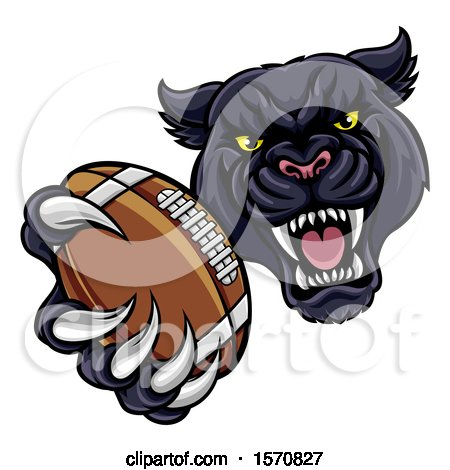 Clipart of a Tough Black Panther Monster Mascot Holding out a Football in One Clawed Paw - Royalty Free Vector Illustration by AtStockIllustration