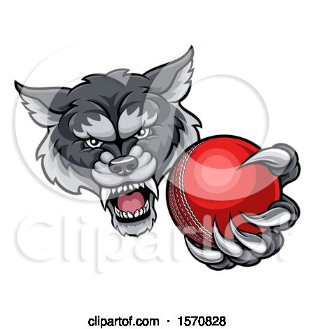 Clipart of a Tough Wolf Monster Mascot Holding out a Cricket Ball in One Clawed Paw - Royalty Free Vector Illustration by AtStockIllustration