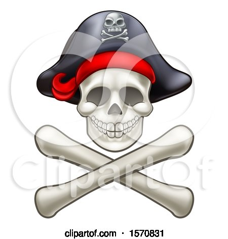Clipart of a Pirate Skull and Cross Bones Jolly Roger - Royalty Free Vector Illustration by AtStockIllustration