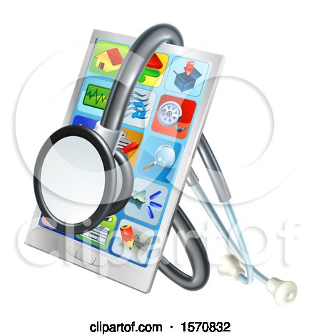Clipart of a 3d Medical Stethoscope Around a Smart Phone with Apps on the Screen - Royalty Free Vector Illustration by AtStockIllustration