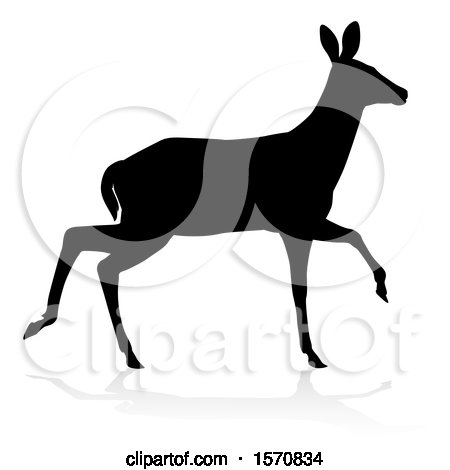 Clipart of a Silhouetted Black Silhouetted Deer Doe with a Shadow or Reflection, on a White Background - Royalty Free Vector Illustration by AtStockIllustration
