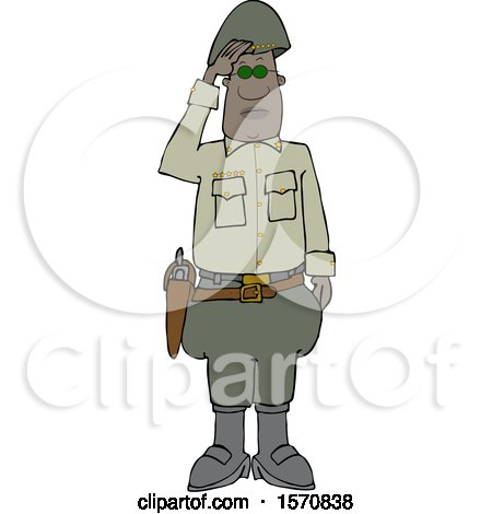 Clipart of a Black Male Military 5 Star General Saluting - Royalty Free Vector Illustration by djart
