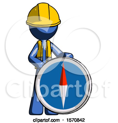 Blue Construction Worker Contractor Man Standing Beside Large Compass by Leo Blanchette