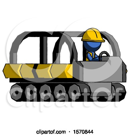 Blue Construction Worker Contractor Man Driving Amphibious Tracked Vehicle Side Angle View by Leo Blanchette