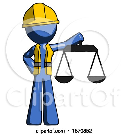 Blue Construction Worker Contractor Man Holding Scales of Justice by Leo Blanchette