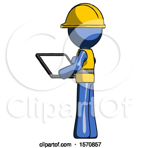 Blue Construction Worker Contractor Man Looking at Tablet Device Computer with Back to Viewer by Leo Blanchette