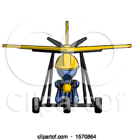 Blue Construction Worker Contractor Man in Ultralight Aircraft Front View by Leo Blanchette