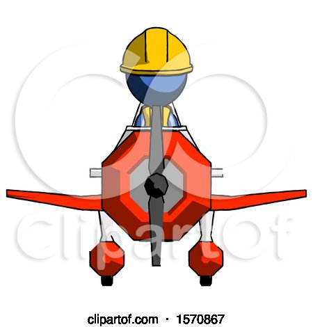 Blue Construction Worker Contractor Man in Geebee Stunt Plane Front View by Leo Blanchette