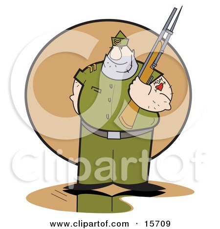Drill Sergeant With A Mom Tattoo, Holding A Gun Clipart Illustration by Andy Nortnik