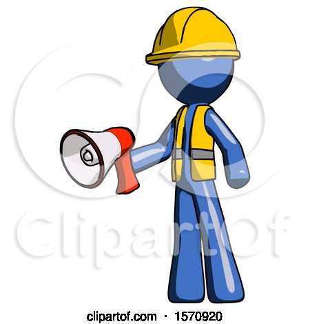 Blue Construction Worker Contractor Man Holding Megaphone Bullhorn Facing Right by Leo Blanchette