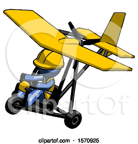 Blue Construction Worker Contractor Man in Ultralight Aircraft Top Side View by Leo Blanchette