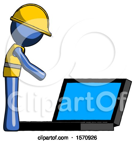 Blue Construction Worker Contractor Man Using Large Laptop Computer Side Orthographic View by Leo Blanchette