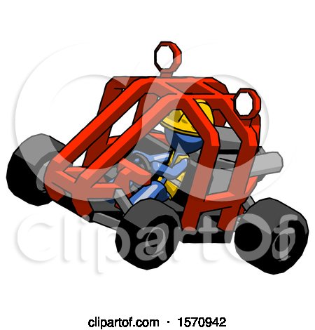 Blue Construction Worker Contractor Man Riding Sports Buggy Side Top Angle View by Leo Blanchette