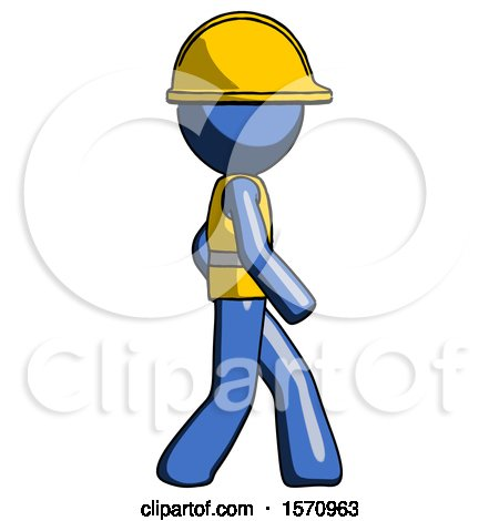 Blue Construction Worker Contractor Man Walking Right Side View by Leo Blanchette