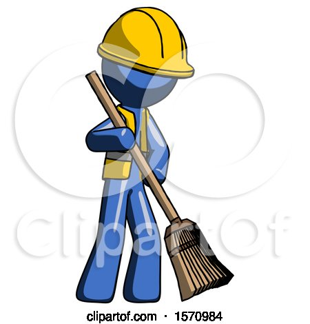 Blue Construction Worker Contractor Man Sweeping Area with Broom by Leo Blanchette