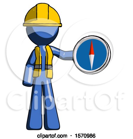 Blue Construction Worker Contractor Man Holding a Large Compass by Leo Blanchette