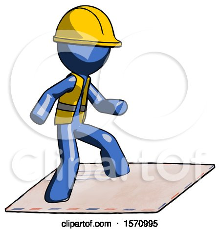 Blue Construction Worker Contractor Man on Postage Envelope Surfing by Leo Blanchette