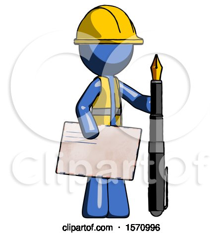 Blue Construction Worker Contractor Man Holding Large Envelope and Calligraphy Pen by Leo Blanchette