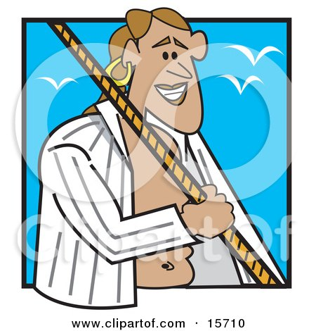 Male Sailor With An Open Shirt, Holding Onto A Rope While Seagulls Fly Above Clipart Illustration by Andy Nortnik