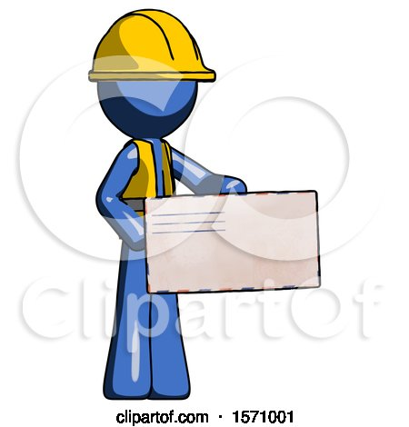 Blue Construction Worker Contractor Man Presenting Large Envelope by Leo Blanchette