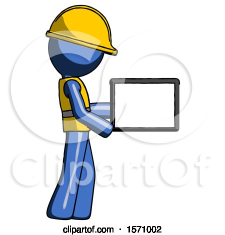 Blue Construction Worker Contractor Man Show Tablet Device Computer to Viewer, Blank Area by Leo Blanchette