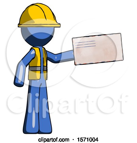 Blue Construction Worker Contractor Man Holding Large Envelope by Leo Blanchette