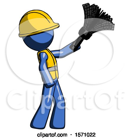 Blue Construction Worker Contractor Man Dusting with Feather Duster Upwards by Leo Blanchette