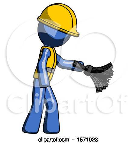 Blue Construction Worker Contractor Man Dusting with Feather Duster Downwards by Leo Blanchette