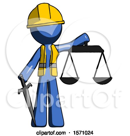 Blue Construction Worker Contractor Man Justice Concept with Scales and Sword, Justicia Derived by Leo Blanchette