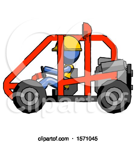 Blue Construction Worker Contractor Man Riding Sports Buggy Side View by Leo Blanchette