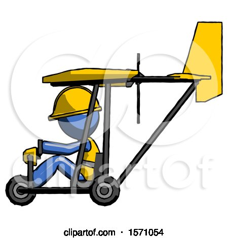 Blue Construction Worker Contractor Man in Ultralight Aircraft Side View by Leo Blanchette