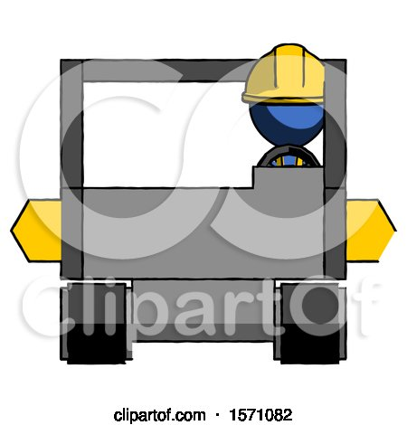 Blue Construction Worker Contractor Man Driving Amphibious Tracked Vehicle Front View by Leo Blanchette