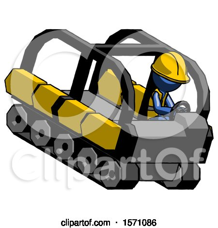 Blue Construction Worker Contractor Man Driving Amphibious Tracked Vehicle Top Angle View by Leo Blanchette