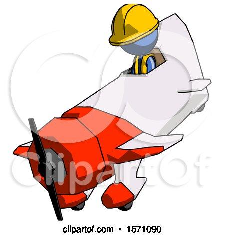 Blue Construction Worker Contractor Man in Geebee Stunt Plane Descending View by Leo Blanchette