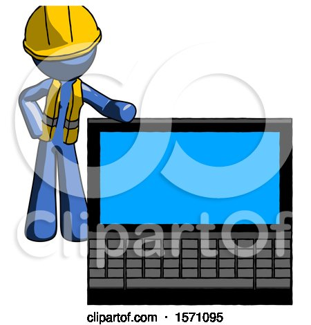 Blue Construction Worker Contractor Man Beside Large Laptop Computer, Leaning Against It by Leo Blanchette