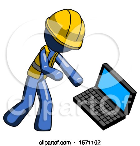 Blue Construction Worker Contractor Man Throwing Laptop Computer in Frustration by Leo Blanchette