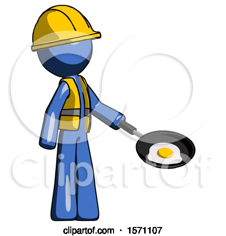 Blue Construction Worker Contractor Man Frying Egg in Pan or Wok Facing Right by Leo Blanchette