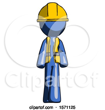 Blue Construction Worker Contractor Man Walking Front View by Leo Blanchette