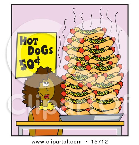 Hungry Woman Standing By A Huge Pile Of Hotdogs Clipart Illustration by Andy Nortnik