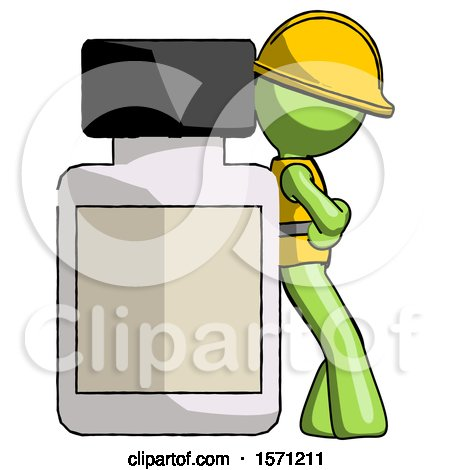 Green Construction Worker Contractor Man Leaning Against Large Medicine Bottle by Leo Blanchette