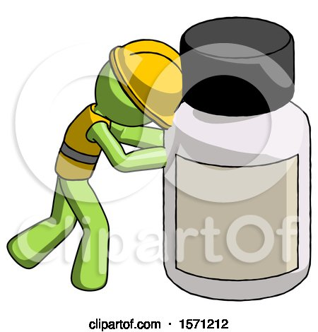 Green Construction Worker Contractor Man Pushing Large Medicine Bottle by Leo Blanchette