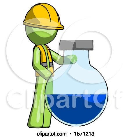 Green Construction Worker Contractor Man Standing Beside Large Round Flask or Beaker by Leo Blanchette